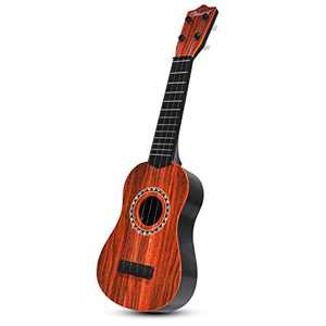 JINRUCHE Kids Ukulele Guitar, 4 Strings 21inch Ukulele Guitar for Kids Musical Instruments Educational Toy for Girls and Boys (Wood)