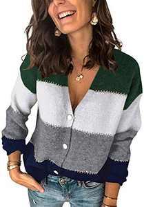 Boncasa Women's Color Block Open Front Cardigan Button Down V Neck Long Sleeve Fuzzy Knit Sweater Lightweight Coat Navy Blue 24B9C-zangqing-XL
