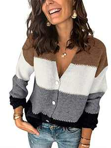 Boncasa Womens Striped Colorblock V Neck Cardigan Long Sleeve Button Down Casual Fuzzy Knit Sweaters Coat Soft Outwear Black 24B9C-heise-L