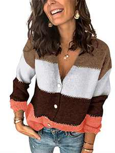 Boncasa V Neck Button Down Knitwear Cardigan Fuzzy Color Block Sweaters Long Sleeve Lightweight Womens Tops Orange 24B9C-juhong-XL