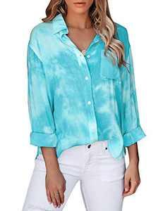 LookbookStore Women's Casual Button Down Tie Dye Shirt Long Sleeve Loose Blouse Fall Lightweight Tops Blue Size XX-Large