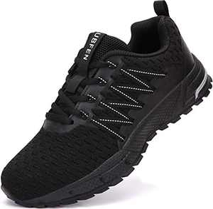 UBFEN Sneakers for Mens Womens Running Shoes Walking Casual Footwear Fitness Jogging Athletic Bowling Indoor Outdoor Sports Shoes 11 Women/9.5 Men C Black