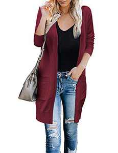 Alsol Lamesa Cardigan Sweater for Women,Open Front Cardigan Colorblock,Long Sleeve Kint Lightweight Sweaters with Pockets. (Solid Burgundy, Small)