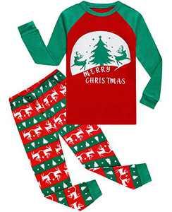 Demifill Boys and Girls Pajamas 100% Cotton Christmas Tree Pajamas Toddler Clothes Kids Children Sleepwear Size 6 Green