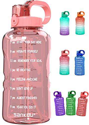 SANKUU Large 1 Gallon/128oz Gallon Water Bottle Motivational with Time Marker & Straw, Leakproof Water Jug for Fitness,Gym,Sports (Light Pink)