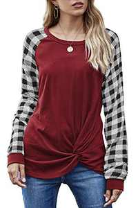 Aifer Women's Color Block Long Sleeve/Short Sleeve Tops Pattern Raglan Shirts Round Neck Tunic Tops (Small, L-Wine Red-Twist Knot)
