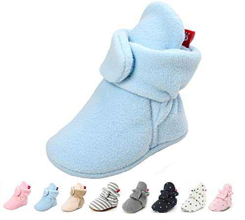 Unisex Newborn Baby Cotton Booties Slippers Sole for Toddler Boys Girls Infant Winter Warm Fleece Cozy Socks Shoes