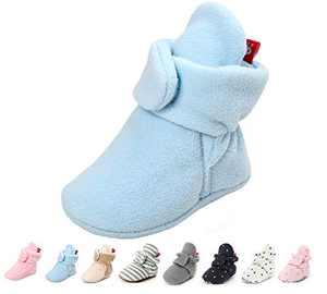 Baby Boy Girl Booties Fleece Cozy Non Skid Infant Winter Warm Slippers Winter Warm Socks Crib Shoes