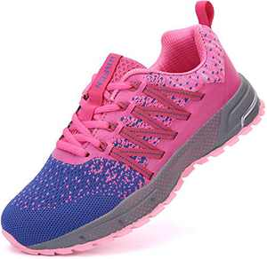 UBFEN Running Shoes for Mens Womens Sports Shoes Casual Footwear Walking Fitness Jogging Athletic Indoor Outdoor Fashion Sneakers 9.5 Women/8 Men C Purple