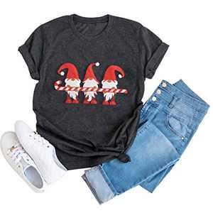Merry Christmas Tshirt Womens Xmas Vacation Gift Tee Causal Plaid Short Sleeve Tops (Grey-3, M)