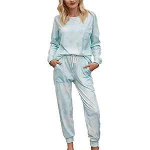 Tie Dye Lounge Sets for Women - Tie Dye Printed Long Pajamas Set Sweatshirt PJ Sets Loungewear Green XL