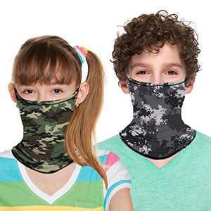 ZukoCert Kids Neck Gaiter Cycling Outdoor Girls Boys Face Scarf Balaclava Dust-Proof Kids Bandanas Kids Face Cover(D)