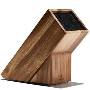 Befano Universal Knife Block without Knives Slot-less Wooden Knife Stand Organizer Holder Acacia Wood Kitchen Knife Storage Easy to Clean Knife for Small Steak Knives