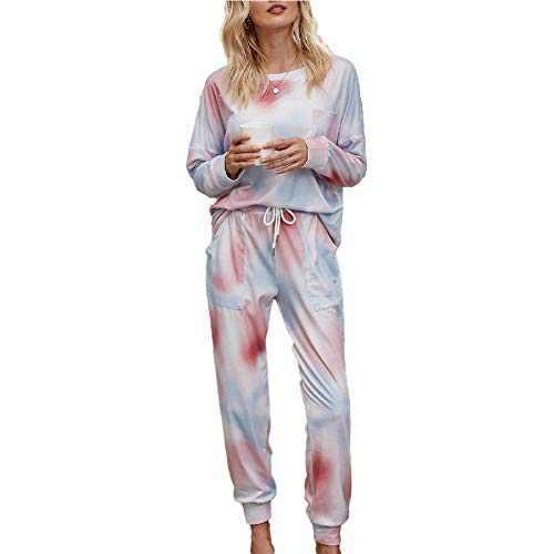 Tie Dye Lounge Sets for Women - Jogger Set Pajama Sets Active Sweatsuits Long Sleeve Pullover Sweatpants 2 Pcs Tracksuits Pink Blue M