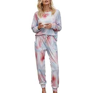 Tie Dye Lounge Sets for Women - Jogger Set Pajama Sets Active Sweatsuits Long Sleeve Pullover Sweatpants 2 Pcs Tracksuits Pink Blue M