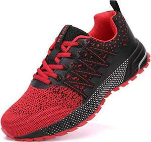 UBFEN Running Shoes for Mens Womens Sports Shoes Casual Footwear Walking Fitness Jogging Athletic Indoor Outdoor Fashion Sneakers 14 Women/13 Men C Red