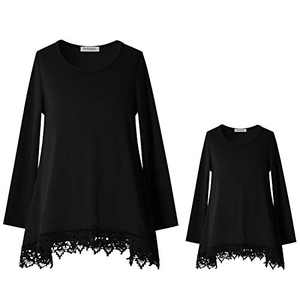 Mommy and Me Long Sleeve Tops for Women Lace Tunic O-Neck Blouse Winter Clothes Black Large