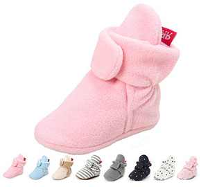 Baby Girl Booties Soft Stay On Slippers Shoes Non-Skid Sock Boots Grippers Newborn Toddler Crib Winter Shoe First Gift