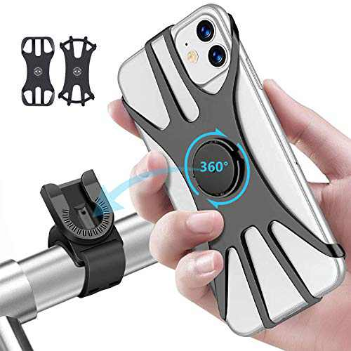 """[2 Pack] Bike Phone Mount, OOWOLF Detachable 360° Rotation Silicone Bicycle Phone Stand Fits iPhone Xs Max/XS XR X/6S/7/8 Plus, Galaxy S10 /S10/S10e/S9 /S9/S8, 4.0""""~6.5"""""""