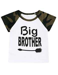 Crazybee Little Boy Big Brother Shirt Kid Camouflage Matching Brother Tops (Camouflage02,3T)