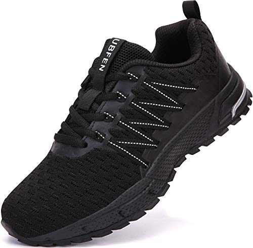UBFEN Sneakers for Mens Womens Running Shoes Walking Casual Footwear Fitness Jogging Athletic Bowling Indoor Outdoor Sports Shoes 6.5 Women/6 Men C Black