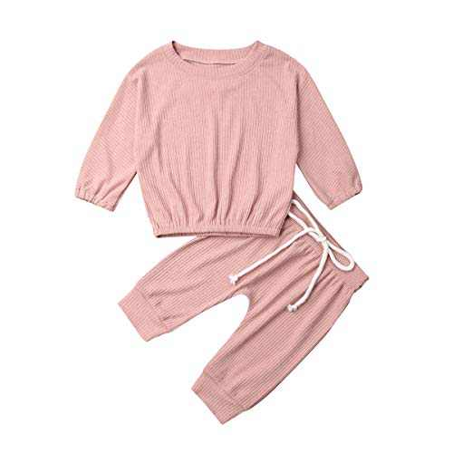 Toddler Newborn Baby Boy Girl Happy Camper Short Sleeve T-Shirt Top+Animal Printed Pant 2Pcs Outfit Set (S-Pink, 0-6 Months)