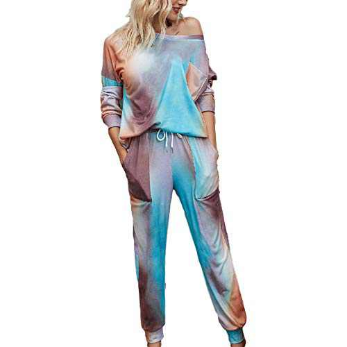 Tie Dye Lounge Sets for Women - Pajama Sets Long Sleeve Tops and Pants PJ Sets Joggers Loungewear Sleepwear Blue XL