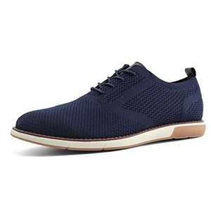 JABASIC Mens Knit Wingtip Oxford Breathable Walking Dress Shoes Lace Up Sneakers (12,Navy)
