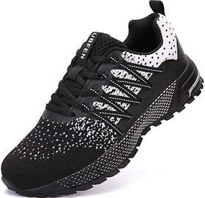 UBFEN Running Shoes for Mens Womens Sports Shoes Casual Footwear Walking Fitness Jogging Athletic Indoor Outdoor Fashion Sneakers 13 Women/12 Men C WhiteBlack