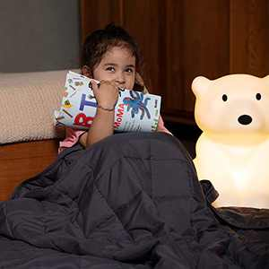 Syrinx 5lbs Weighted Blanket for Kids, 36'' x 48'', Dark Grey, Breathable Blanket with Glass Beads