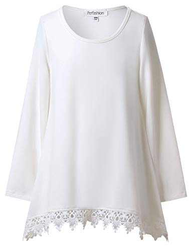 Dressy Tops for Girls Long Sleeve Tunic Shirt Winter Blouses Lace Trim Fall Tops White 12 13
