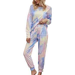 Tie Dye Lounge Sets for Women - Pj Set Sleepwear Two Piece Pajamas Tops with Long Sleep Pants Pjs Loungewear Purple S