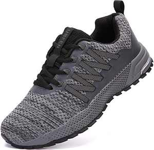 UBFEN Sneakers for Mens Womens Running Shoes Walking Casual Footwear Fitness Jogging Athletic Bowling Indoor Outdoor Sports Shoes 9.5 Women/8 Men C Grey