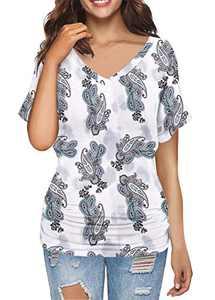 MODARANI Dolman Tunic Tops for Women Tie Dye Short Sleeve Drape Shirts Casual Blouse V Neck S