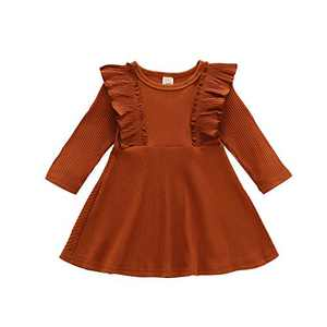 Infant Toddler Baby Girl Ribbed Ruffle Dress Cute Kids Solid Long Sleeve Dresses Top Fall Winter Warm Outfits Clothes (Ruffle Long Sleeve-Brown, 2-3T)