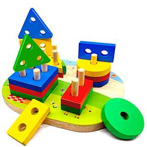Wooden Educational Stacking Toy for Toddlers, Sorting Stacking Toy for Kids, Shape Color Recognition Puzzle Stacker, Preschool Montessori Toddlers Block Toy Gift for Boys Girls 1 2 3 4+ Years Old