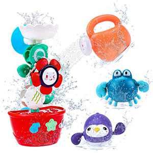 TSOMTTO Bath Toys Flower with 2 Wind Up Bath Toys for Toddlers Bathtub Water Play Set Bathing Time Waterfall Floating Toys Boys Girls Baby Easter Basket Stuffer Gift Age 3 4 5 Years Old
