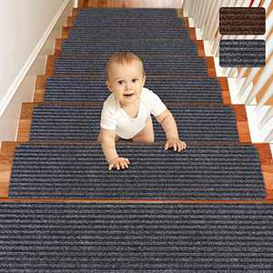 "Matahum Non Slip Stair Treads Carpet, Treads for Wood Stairs Set of 15, Safety Slip Resistant for Kids, Elders, and Dogs, 8"" X 30"", Gray"