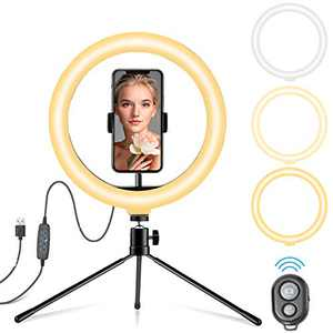 """10.2"""" LED Ring Light with Tripod Stand & Phone Holder, 3 Light Modes & 11 Brightness Level Ring Lights for Selfie, Makeup, YouTube Video, Live Streaming, Photography"""