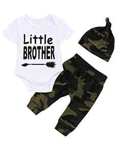 Crazybee Baby Boy Little Brother Bodysuit Newborn Camouflage Matching Brother Outfit (Camouflage,0-3 Months)