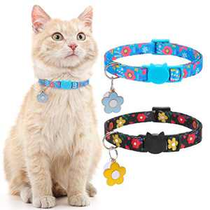 Floral Cat Breakaway Collars with Bell - 2 Pack Kitty Puppy Collar Set Flower Pattern, Adjustable Safety Collars for Cats Kitten