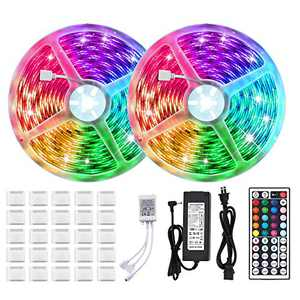 LUNSY RGB Strip Lights with Remote, 32.8ft/10m, Dimmable, IP65 Waterproof, Color Changing Rope Light Indoor and Outdoor