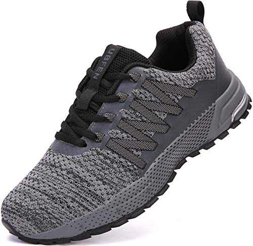 UBFEN Sneakers for Mens Womens Running Shoes Walking Casual Footwear Fitness Jogging Athletic Bowling Indoor Outdoor Sports Shoes 14 Women/13 Men C Grey