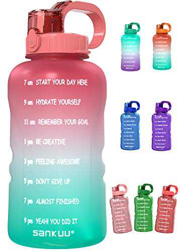 SANKUU Large 1 Gallon/128oz Gallon Water Bottle Motivational with Time Marker & Straw, Leakproof Water Jug for Fitness,Gym,Sports (Pink/Blue Gradient)