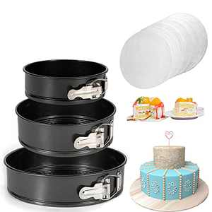 """SHECIPIN Springform Pan set,Nonstick Leakproof 3pcs(4""""/7""""/9"""") Cake Pan Bakeware Cheese cake Pan with 50 Pcs Parchment Paper Liners"""