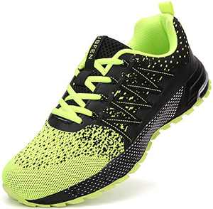 UBFEN Running Shoes for Mens Womens Sports Shoes Casual Footwear Walking Fitness Jogging Athletic Indoor Outdoor Fashion Sneakers 13 Women/12 Men C Green