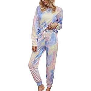 Tie Dye Lounge Sets for Women - Pj Set Sleepwear Two Piece Pajamas Tops with Long Sleep Pants Pjs Loungewear Purple M