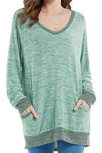 Womens Soft Color Block Casual Long Sleeve V Neck Pocket T Shirts Blouses Sweatshirts Tops (Green,XL)