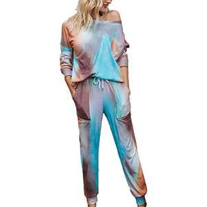 Tie Dye Lounge Sets for Women - Pajama Sets Long Sleeve Tops and Pants PJ Sets Joggers Loungewear Sleepwear Blue 2XL