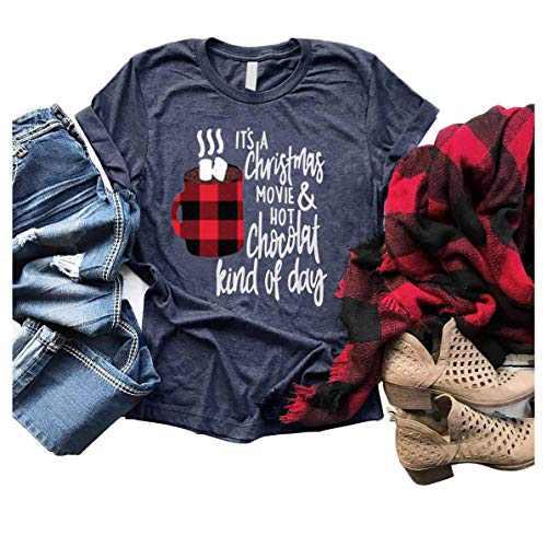 GEMLON Christmas Movie Coffee Shirt Buffalo Plaid Xmas Tees Short Sleeve O Neck Lady Holiday Tops Blouse (A-Blue, M)